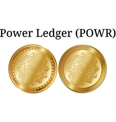 Set of physical golden coin power ledger powr vector