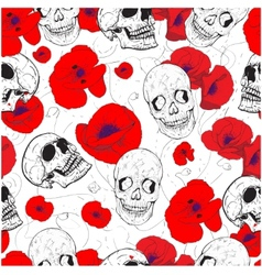 Skulls and flowers vector