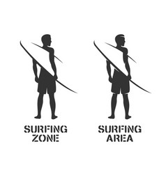 surfing related wall art stencil vintage vector image