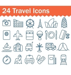 Thin line travel icons set Outline icon vector image vector image