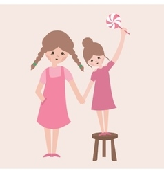 Two sisters one is holding candy using stool vector