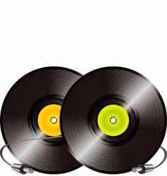 vinyl records and jacks vector image