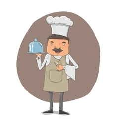 waiter with a tray and notebook vector image vector image