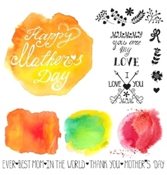 Watercolor steins and headlinemothers day vector