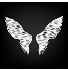 Wings sign scribble effect vector
