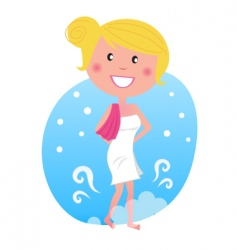Woman in snow after sauna vector