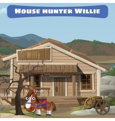 Wooden old house of the hunter and his horse vector image vector image