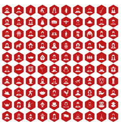 100 folk icons hexagon red vector image
