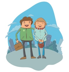 Young couple on the street vector