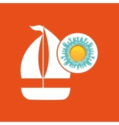 sailing summer vacation sun splashes label vector image