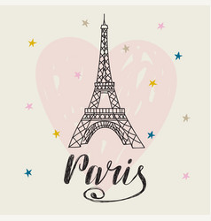 Paris hand drawn with eiffel tower romantic vector