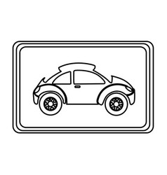 square with sport car side inside vector image