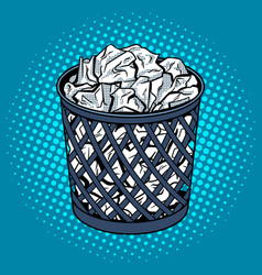 Paper in trash can pop art style vector