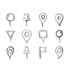 Map pointers hand drawn sketch set navigation vector