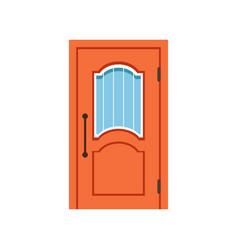 Orange entrance door to house closed elegant door vector