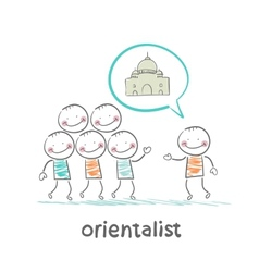 Orientalist tells people about the east vector