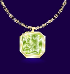 Gold necklace with a green vector