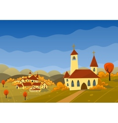 Autumn landscape with hills and village vector
