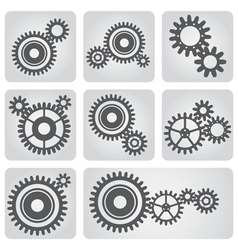 Icons set of gear wheels vector