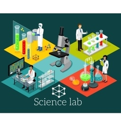 Science lab isomatric design flat vector