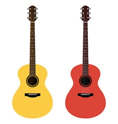 Detailed of acoustic guitars in a flat style vector