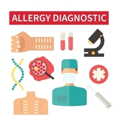 Allergy diagnostic and medical care vector