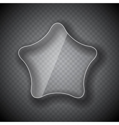 Glass frame star button on checkered abstract vector