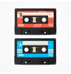 Colorful cassette tape old set vector
