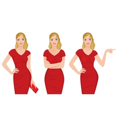 Beautiful blonde woman in a red dress vector