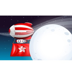 A floating balloon with the hongkong flag vector
