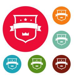 badge crown icons circle set vector image