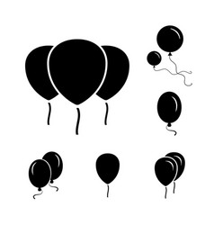 black party balloon icons isolated on white vector image vector image