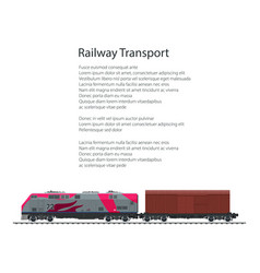 brochure locomotive with closed wagon vector image