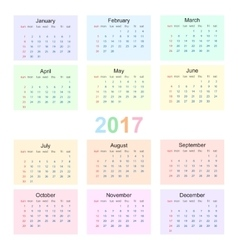 Calendar 2017 starting from sunday vector image