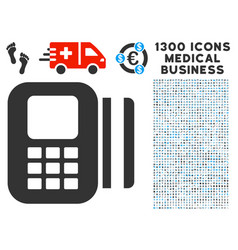 Card reader icon with 1300 medical business icons vector