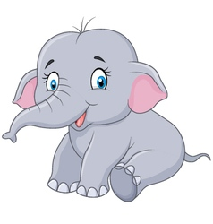 Cartoon baby elephant sitting isolated vector