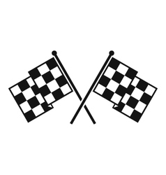 Checkered racing flags icon simple style vector image