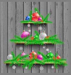christmas tree of three wooden shelves vector image vector image