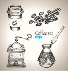 Coffee set beans mill maker and cup vector image