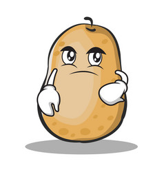 Confused potato character cartoon style vector