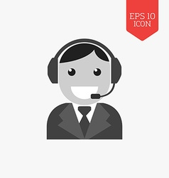 Customer support service icon flat design gray vector