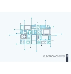 Electronics integrated thin line symbols vector