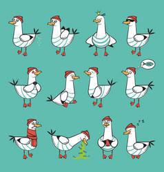Emoji seagull set vector