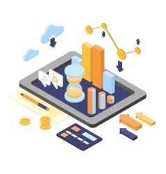 Flat 3d isometric business finance analytics vector