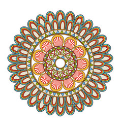 Floral mandala color decoration bohemian vintage vector