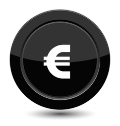 Glossy black euro button vector image vector image