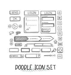 Hand drawn icons set website development vector
