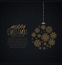 hanging christmas ball made with golden snowflakes vector image
