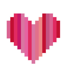 Heart shape with colorful vertical lines pixel vector