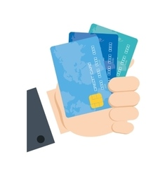 Holding credit card bank vector
